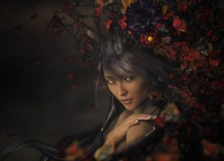 Asian girl with red flowers - portrait art by shibashake