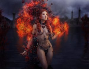 Girl on fire - fantasy art with terradome 3 iray by shibashake