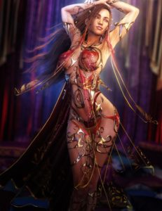 Salome's dance of the seven veils - fantasy 3d art by shibashake